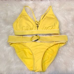 Jag Yellow Belted Bottom Bikini Set